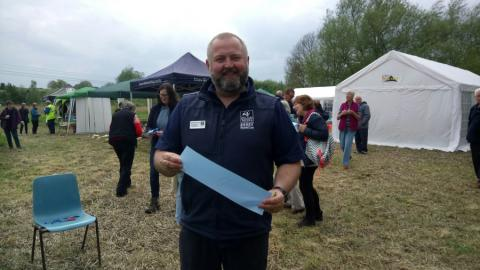 John More, Local Wildlife Sites Officer, at the opening of Foxearth Meadows