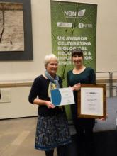 River Wardens Mary Tayler (L) and Laura Millar with the Lynne Farrell NBN Group Award. Photo:EWT