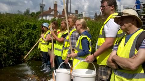 River Wardens being trained in Riverfly surveying. Photo: Essex Wildlife Trust